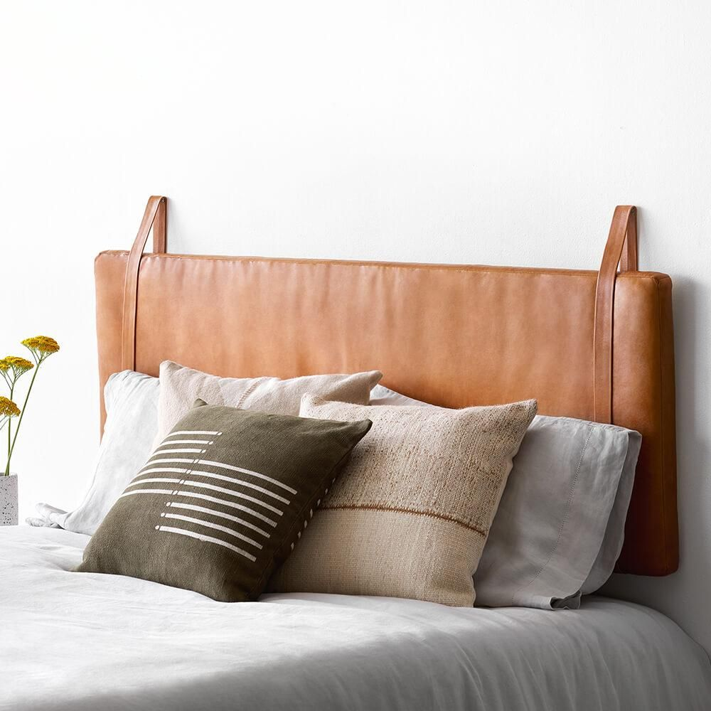 Modern Hanging Leather Headboard Handcrafted In Portugal