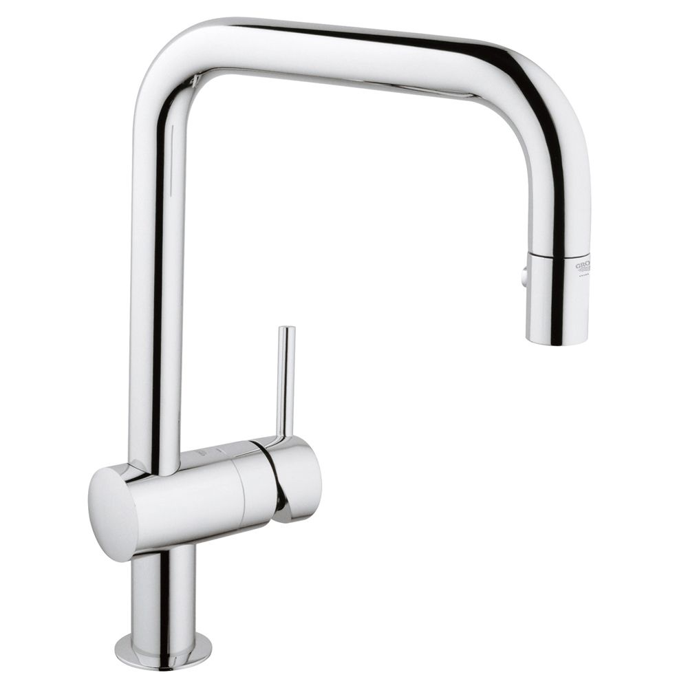 GROHE 31378000 Minta 1 Handle Pull-Down Kitchen Faucet Starlight Chrome
