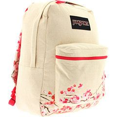 Jansport Canvas Cherry Blossom Backpack Mochilas Mujer Mochila