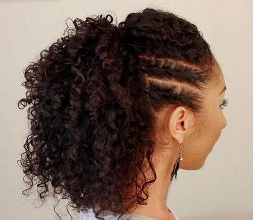 45 Charming Bride S Wedding Hairstyles For Naturally Curly: Side Flat Twists With High Ponytail