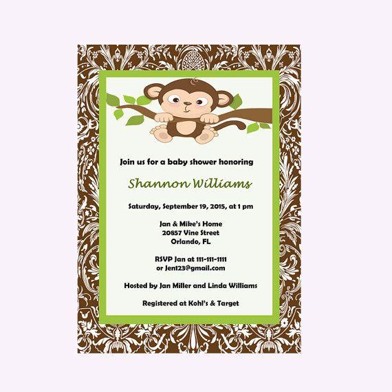 Monkey Baby Shower Invitation Monkey by DigitalDesignsByDawn