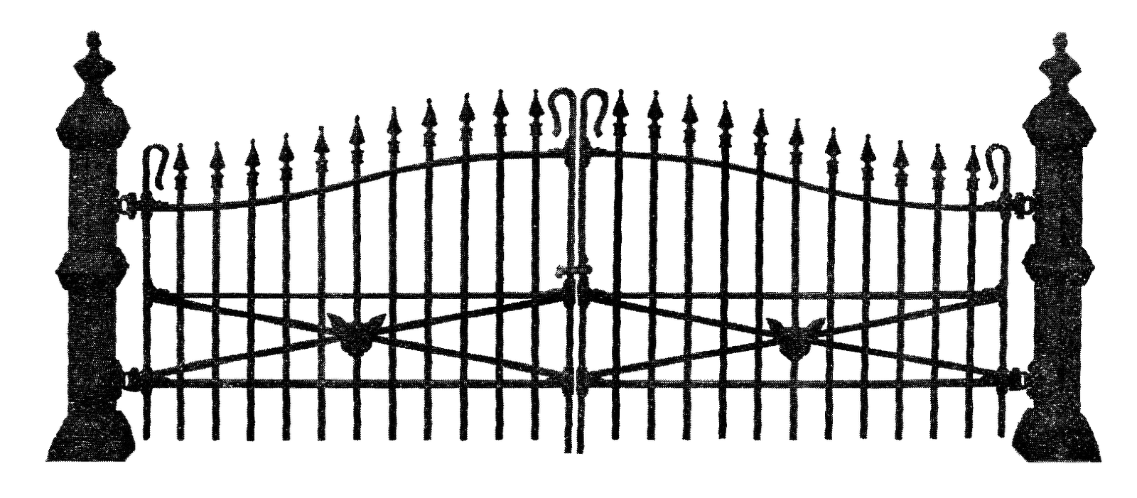 Antique Images Free Antique Graphic For Halloween Spooky Wrought Iron Fence Illustration With Black Cat Head Iron Fence Antique Images Halloween Silhouettes