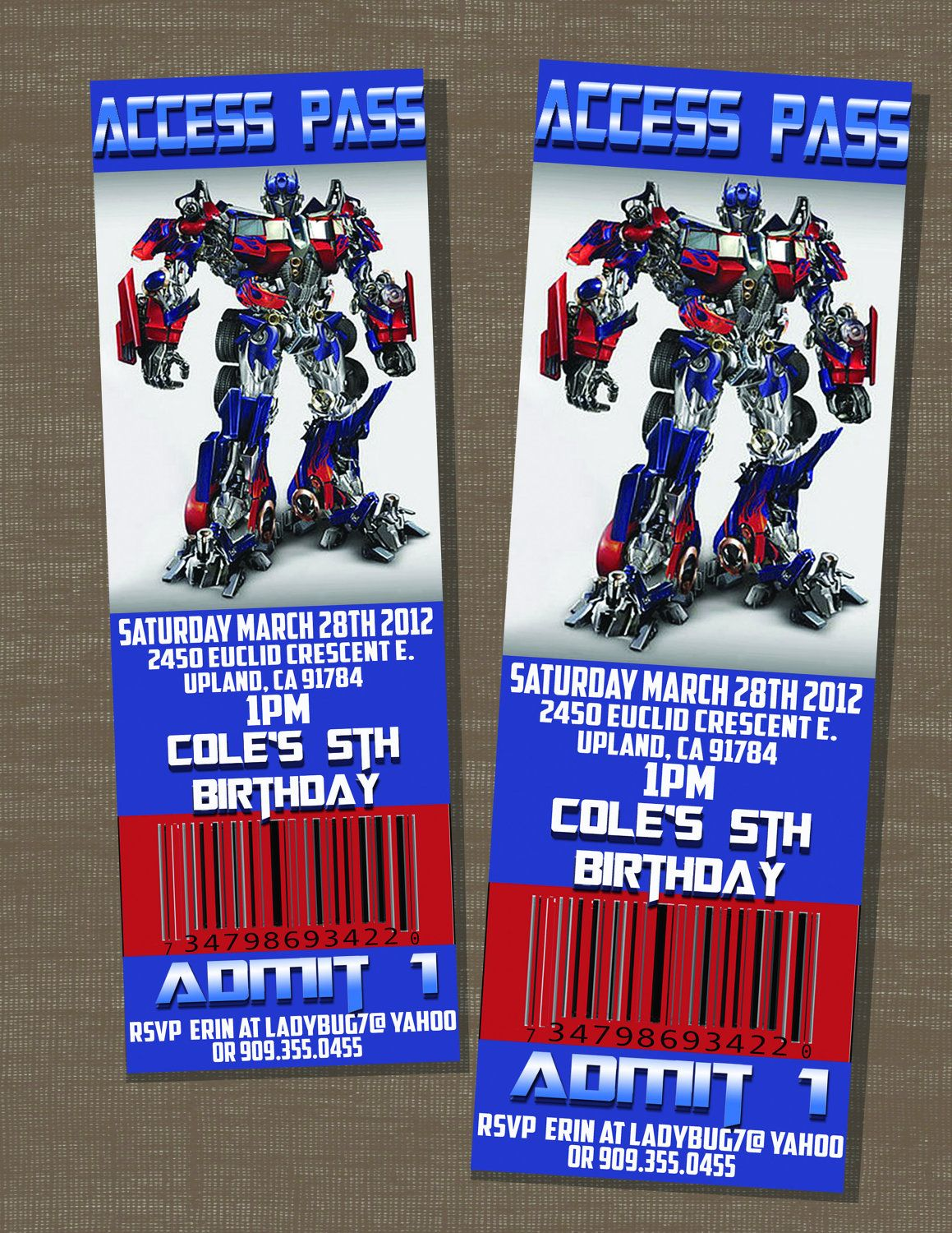 Transformers Ticket Style Birthday Party Invites