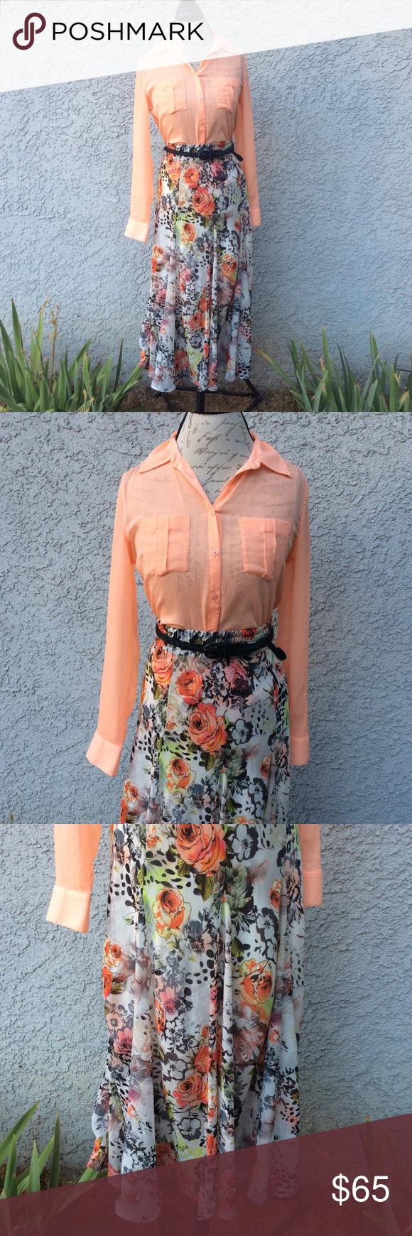 Guess orange sheer shirt lapis floral maxi skirt in my posh
