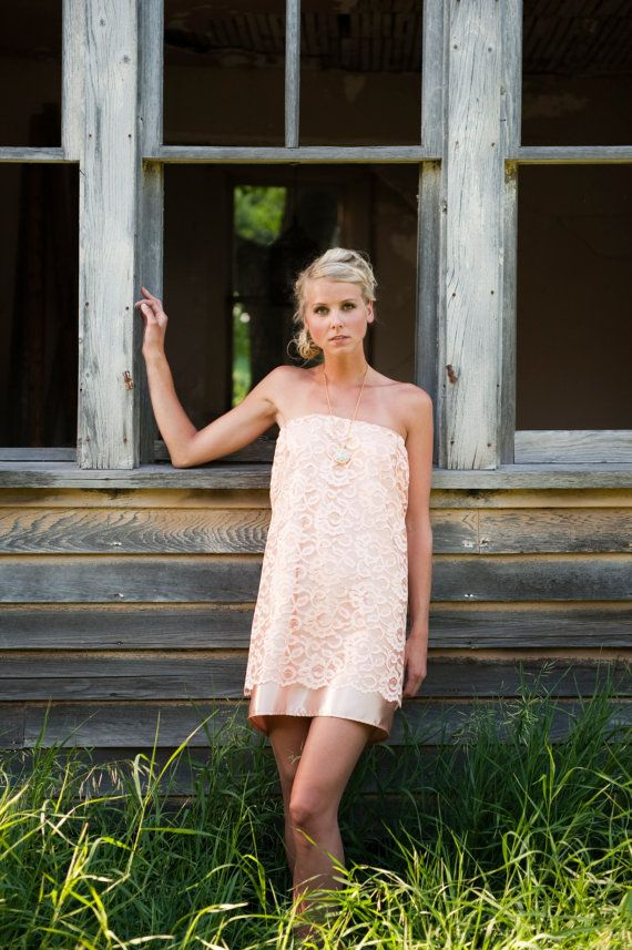 Peach Trapeze Dress by DoveTree on Etsy, $80.00