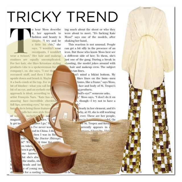 """""""Tricky Trend: Dress and Pants"""" by lucky-ruby ❤ liked on Polyvore featuring Giambattista Valli, STELLA McCARTNEY, Heidi Klein, GUESS, TrickyTrend and brown"""