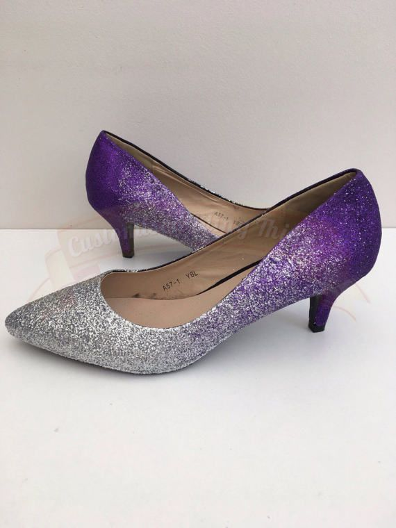 Ombre Glitter Shoes Silver Purple Kitten Heel Bridal Wedding Bridesmaid Prom Party Customised Uk Size 3 8