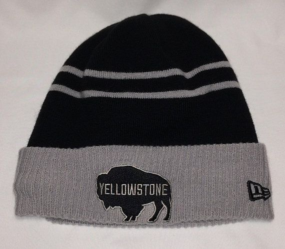 15226a29e69 Vintage New Era Beanie Hat Caps Yellowstone National Park Buffalo Winter  Skull Cap Black Gray Toboggan