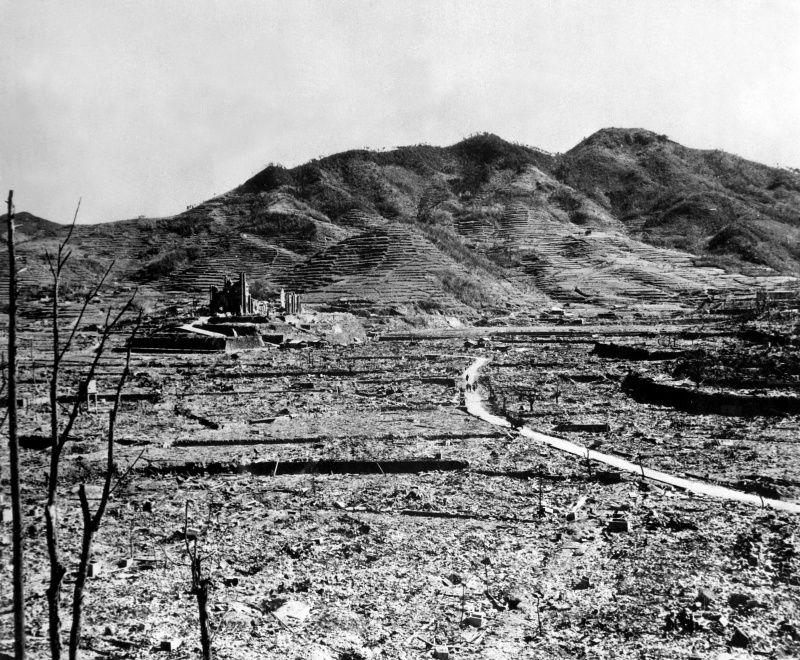 Nagasaki, destroyed by the U.S. atomic bomb blast August 9, 1945.