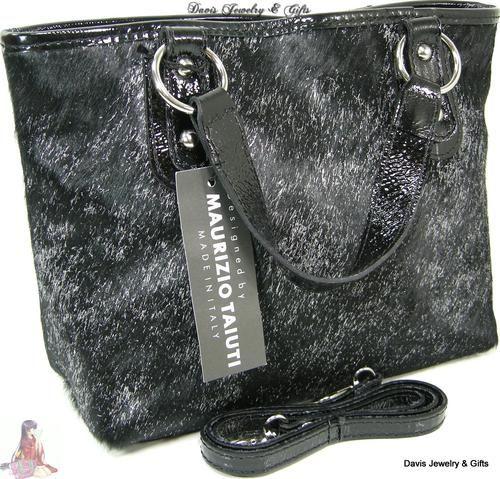 7a8b30484 Maurizio Taiuti Purse Italy Calf Fur Hair Black Silver Shoulder OR Hand Bag  NWT | eBay