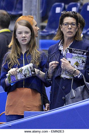 27.MARCH.2012. NICE PRINCESS CAROLINE OF HANOVER AND HER DAUGHTER ALEXANDRA AT 2012 WORLD FIGURE SKATING NICE, 27TH MARCH - Stock Image