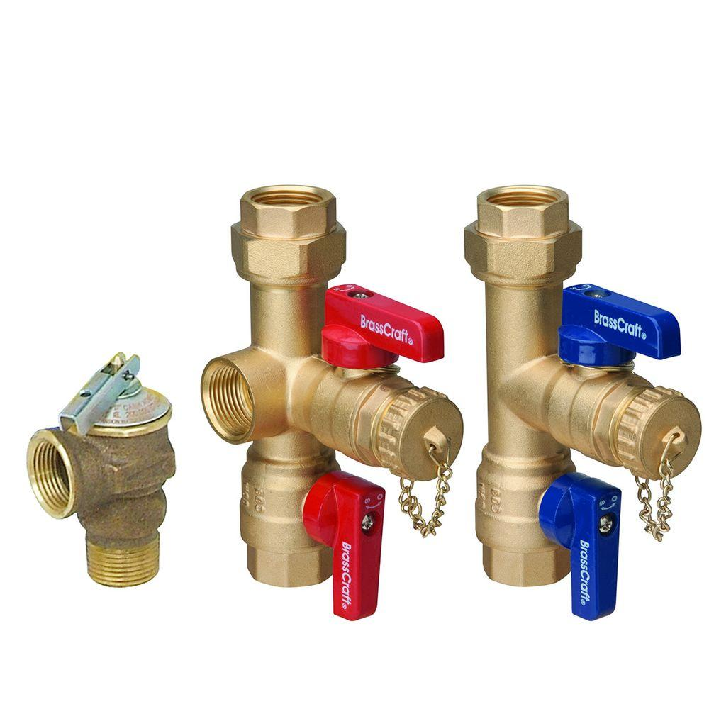 Brasscraft 3 4 In Ips X 3 4 In Ips Tankless Water Heater Service Valves With 200 000 Btu Pressure Relief Valve Twv30rx The Home Depot Water Heater Service Hot Water Heater Repair Tankless Water Heater