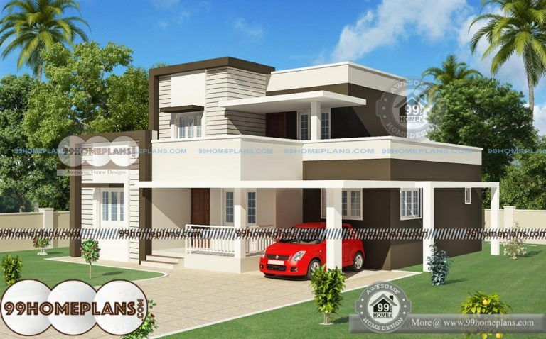 Indian House Design Front View With Double Story Cute Low Cost Homes Indian Home Design Small Contemporary House Plans Small House Front Design