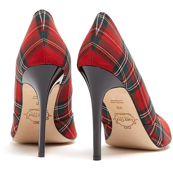 Lucy Choi London Verona Red Tartan High Heel Shoes (£205) ❤ liked on Polyvore featuring shoes, pumps, christmas, scarpe, red leather pumps, pointed toe shoes, pointed-toe pumps, pointed toe high heel pumps and red shoes