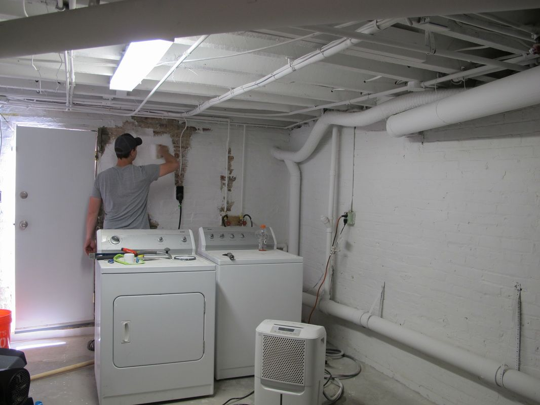 Unfinished Basement Laundry Room Cement