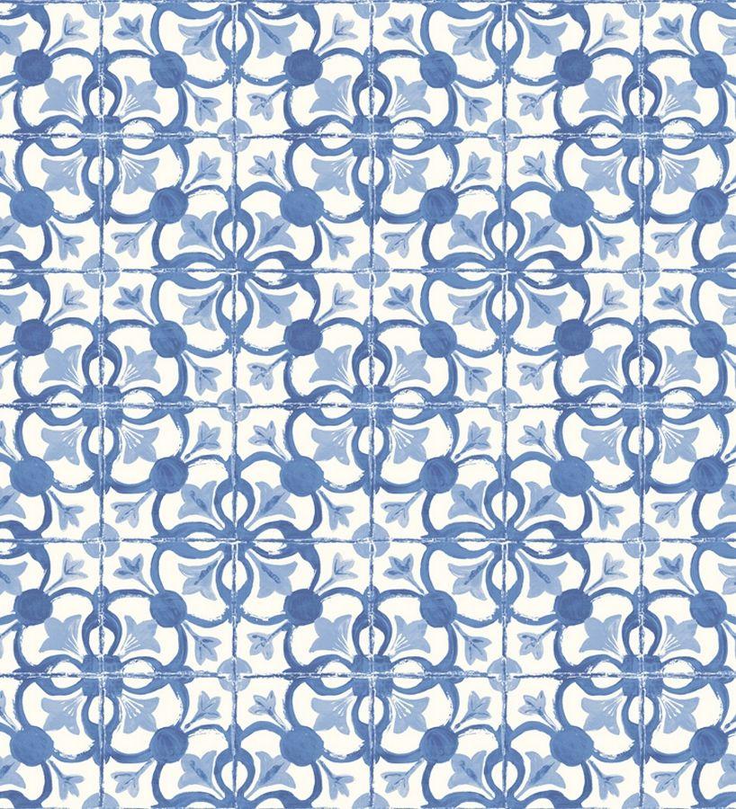 Papel pintado azulejos vin lico para cocina azul cobalto y - Papel pintado sobre azulejos ...