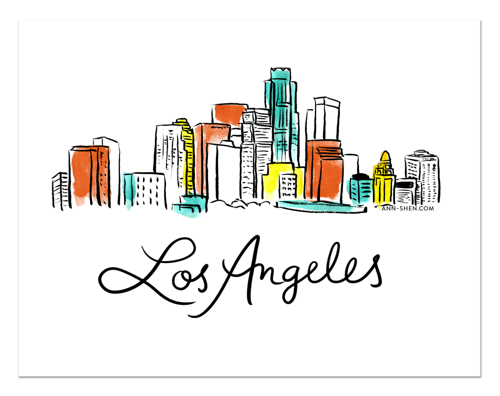 City Love Los Angeles Art Print 10x8 Shop Ann Shen Etsy Art Prints Los Angeles Art Los Angeles Print