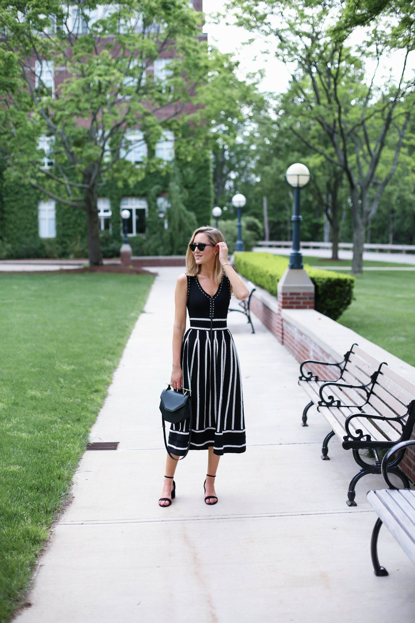 Black And White Reversible Knit Midi Dress  Memorandum Formerly
