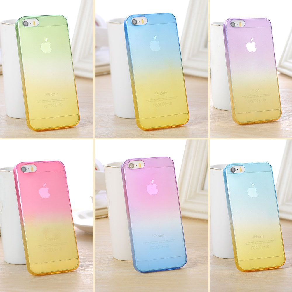 061b73604dc For Apple iPhone 5 5S Case Transparent Gradient Color Design TPU Silicon  Phone Covers Shell Capa Fundas Etui Cover Phone Case