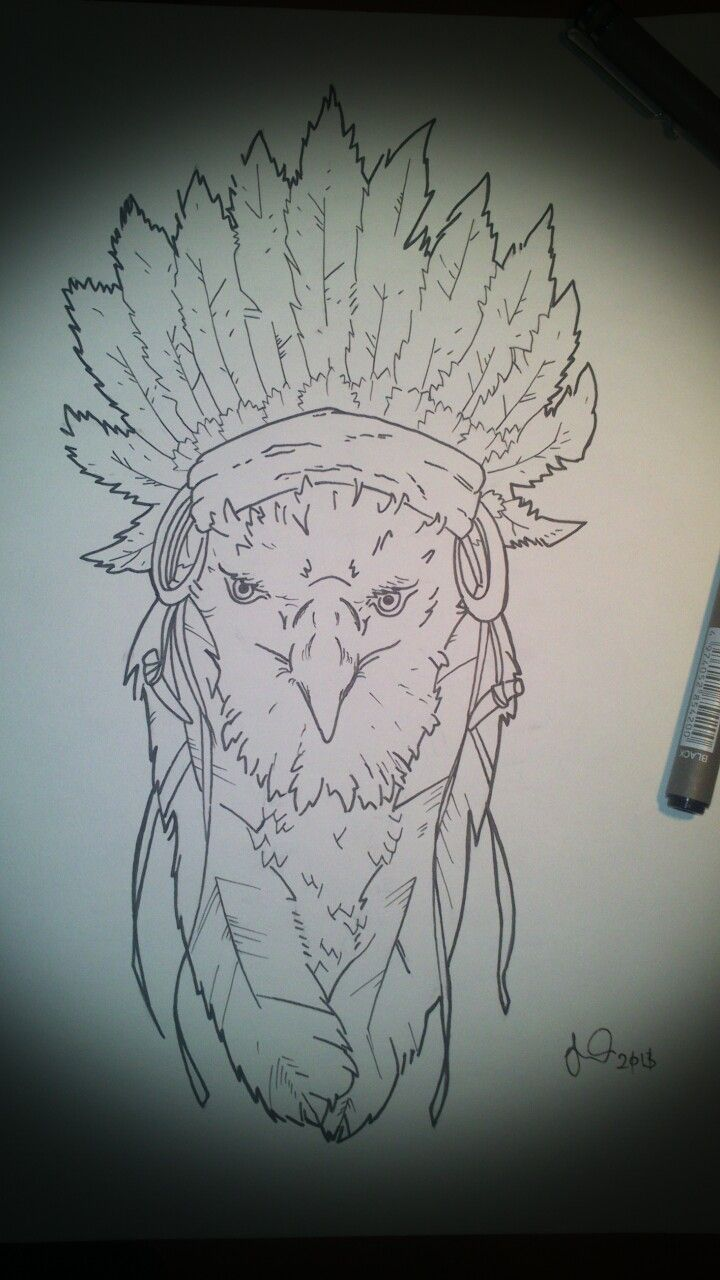 My Indian Headdress Bald Eagle Design Color Tattoo Designs