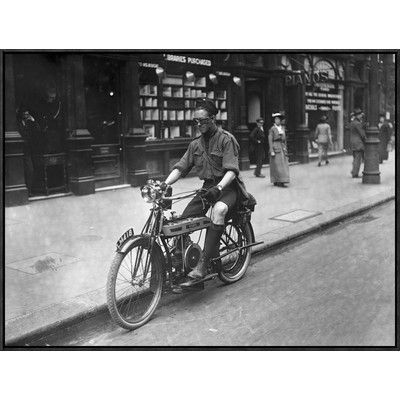 Global Gallery 'Boy Riding American Bike' Framed Photographic Print Size: