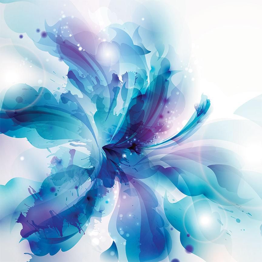 Abstract blue flower extra large metal art abstract