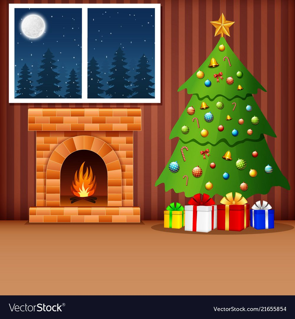 Illustration Of Christmas Living Room With Xmas Tree Presents And Fireplace Downloa Christmas Scene Drawing Christmas Fireplace Christmas Tree And Fireplace