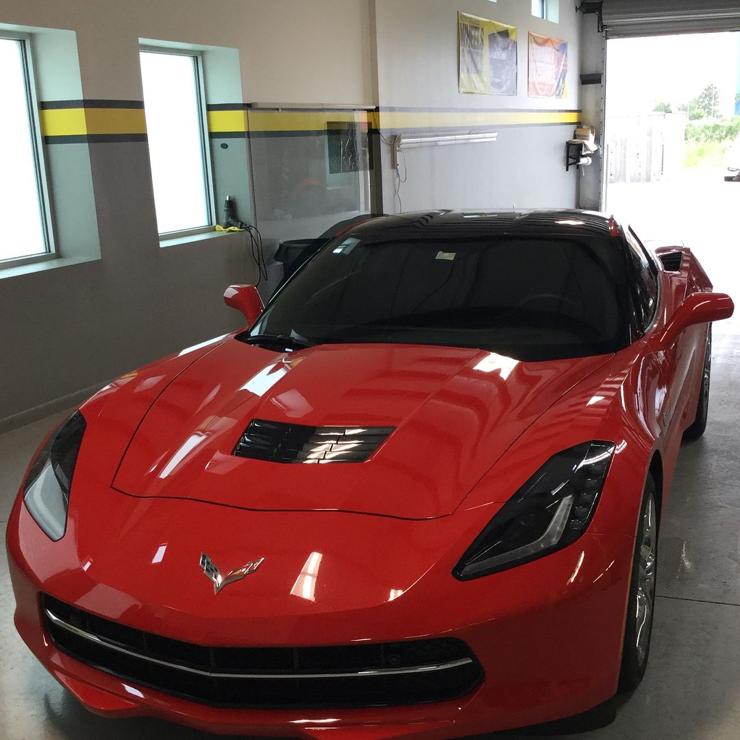 A Little Red Corvette In For A Tint This Morning As Well As A Suv