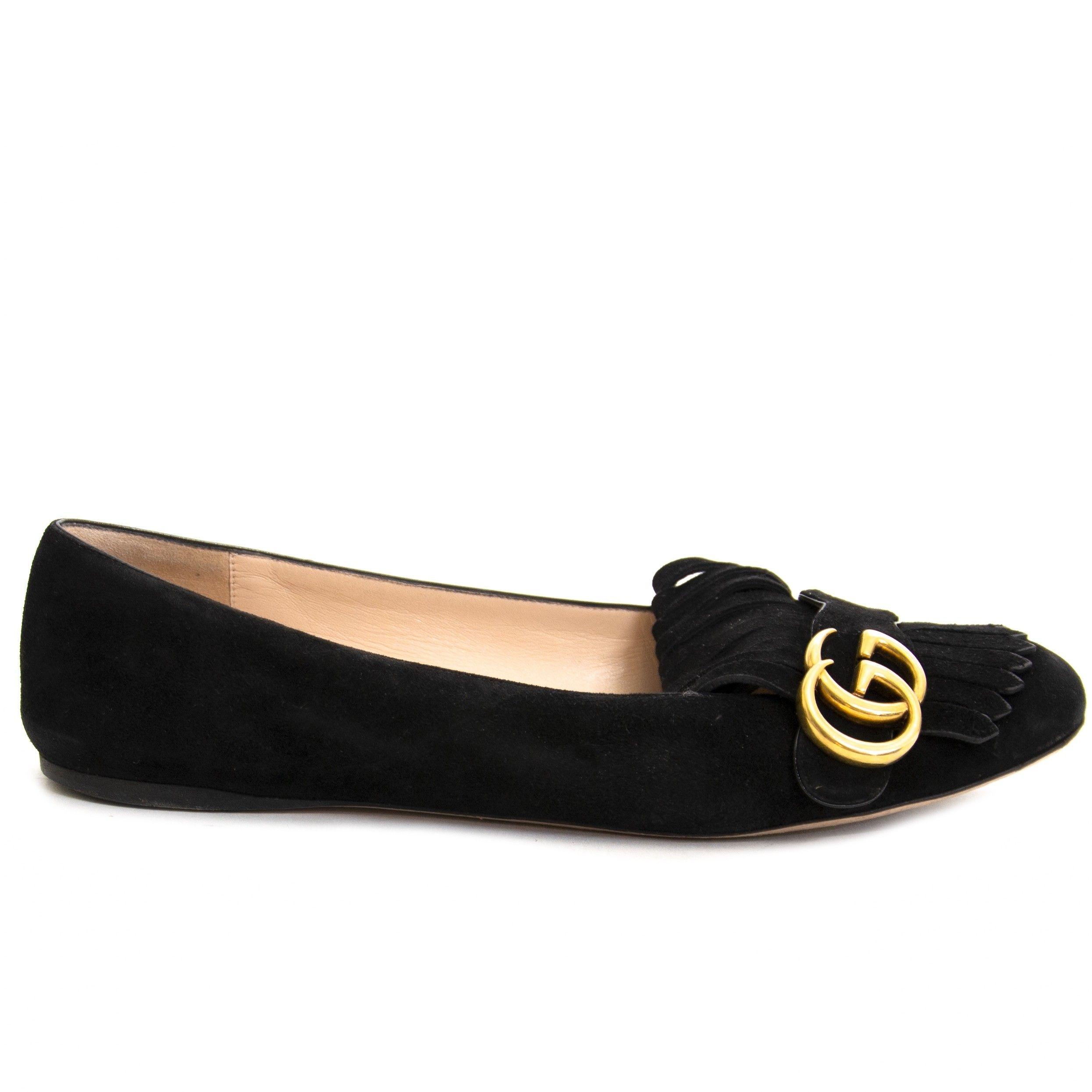 4796ca9316d581 Gucci Marmont Suede Ballet Flats - size 39,5   Shop Labellov in 2019 ...