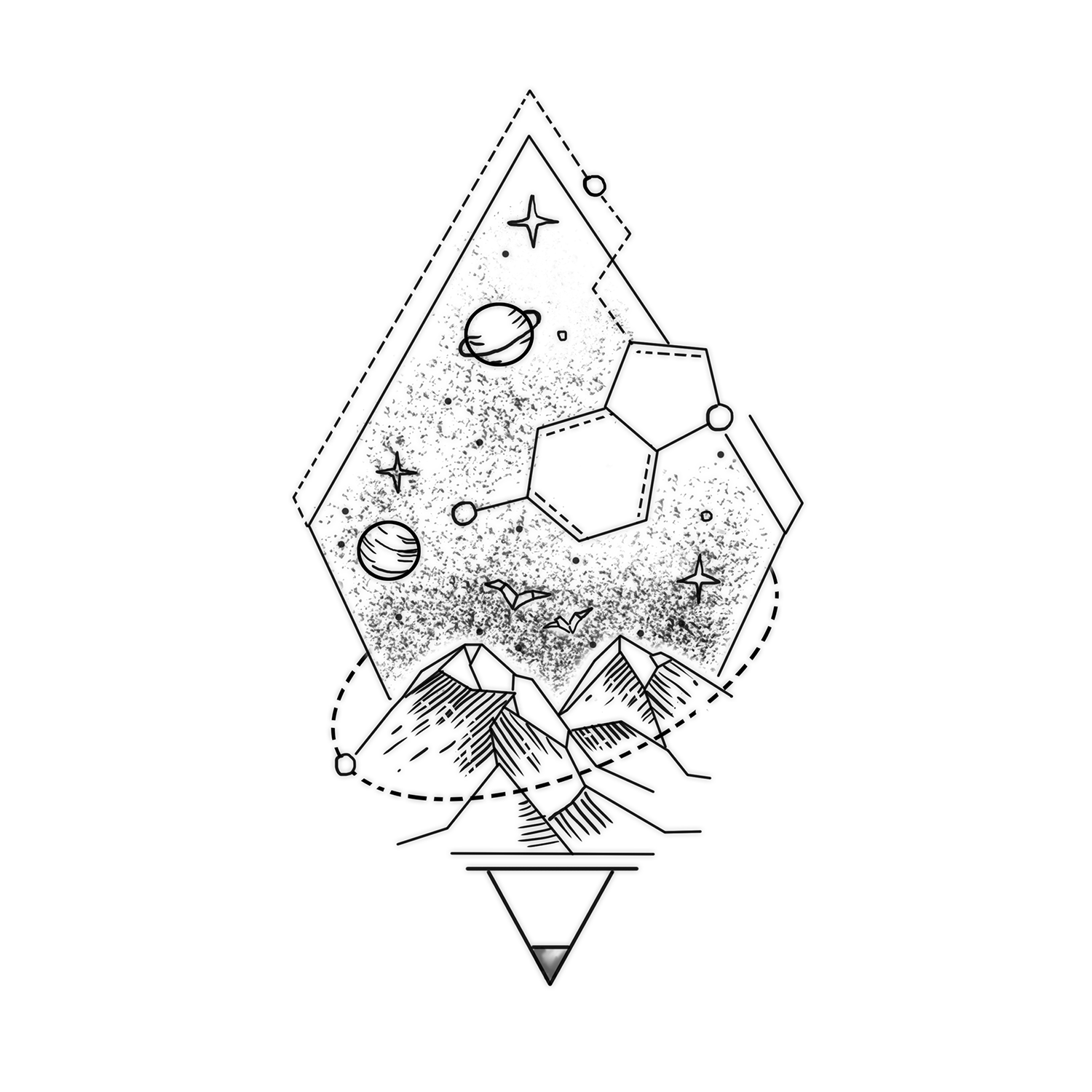 Space Within Hexagon tattoo, Tattoo themes, Tattoo drawings