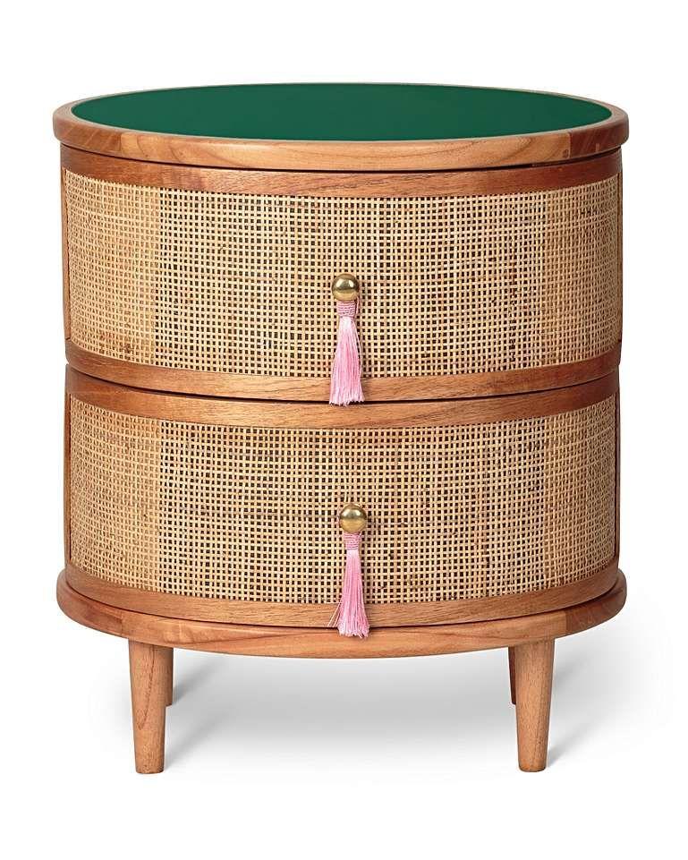 Kinship Rattan Green Bedside Table Green Bedside Table Pink