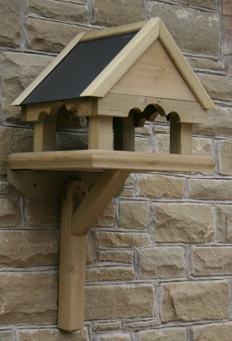 Wall mounted bird table top tables for birds wood - Wall mounted wooden temple design for home ...