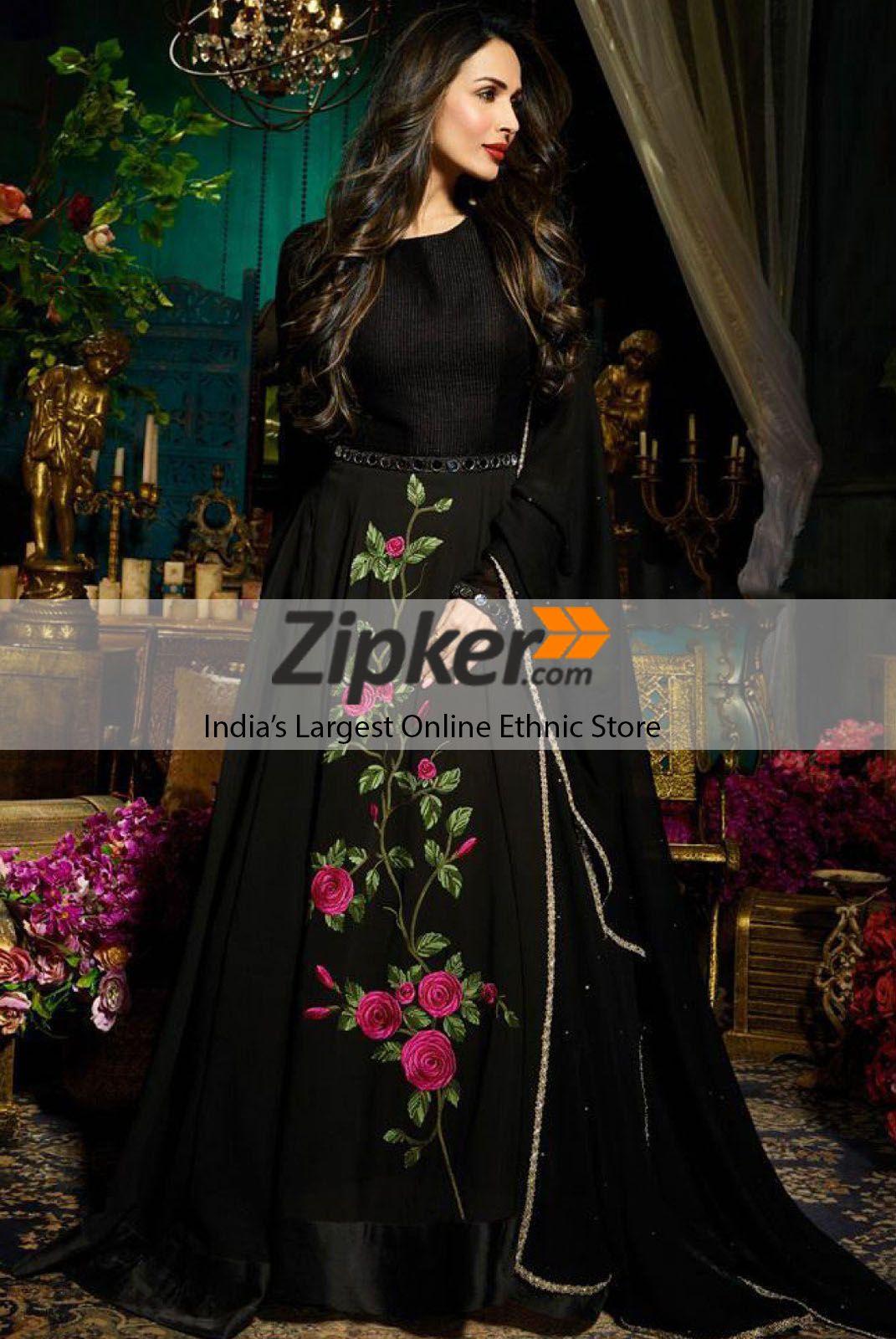 bf7602b76608 Beautiful black color floral designer indo western style designer gown. # Indowesterndress #Designergown #Westerngown #Longgown #Partyweargown # ...