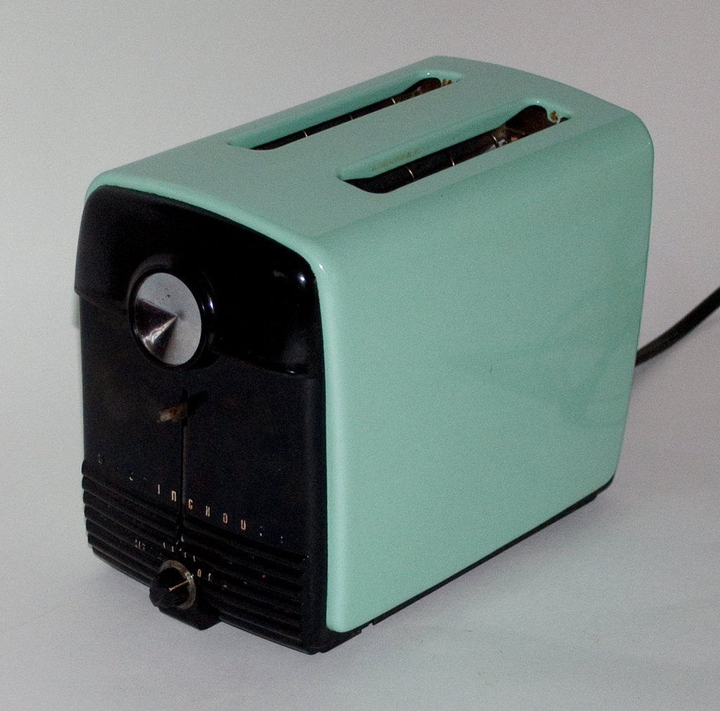 Vintage Westinghouse Enamel Toaster - Iconic Aqua Color