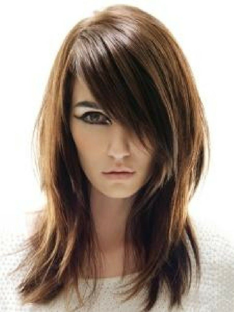 Layered Hairstyles For Long Hair With Side Swept Bangs Medium Length