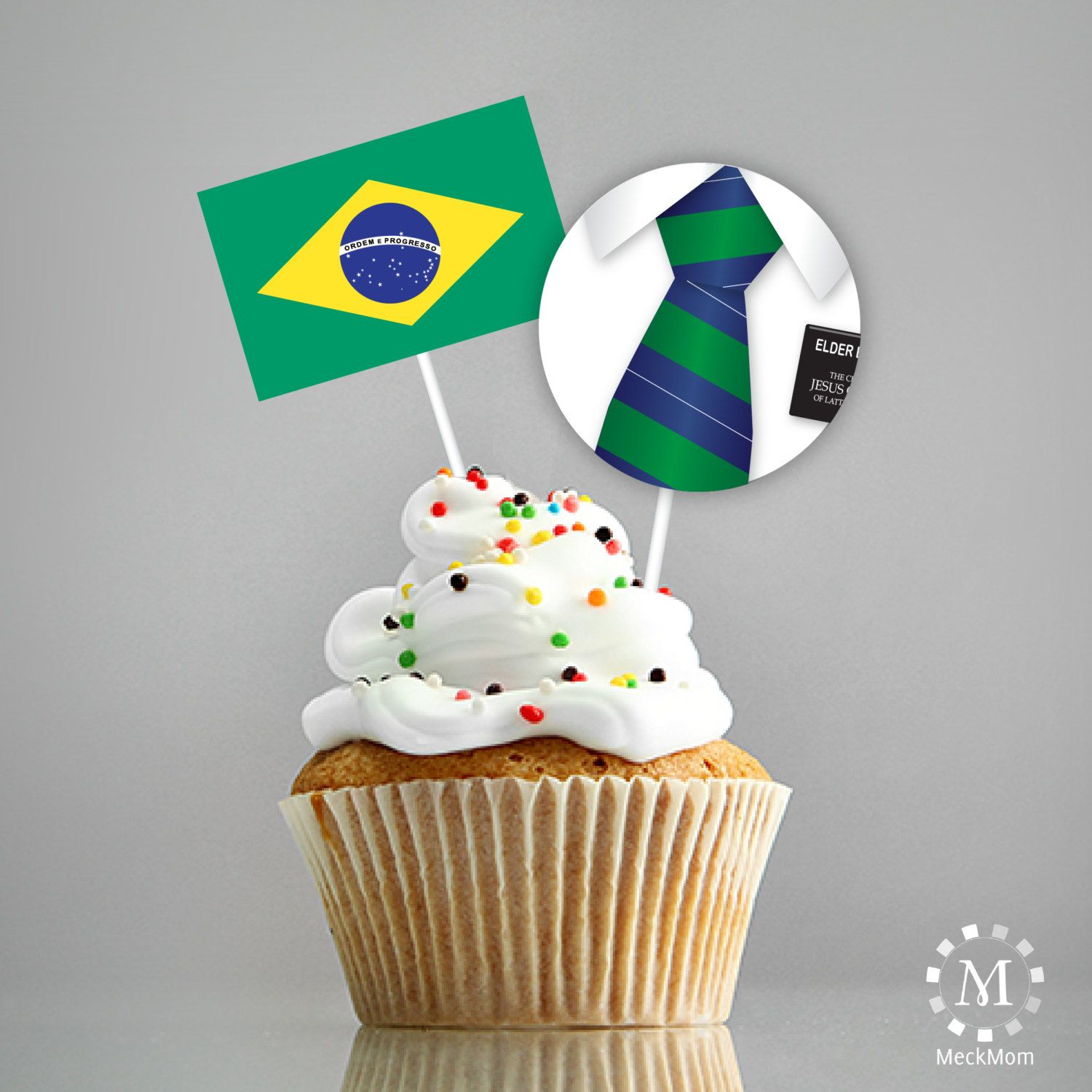 INSTANT DOWNLOAD   Brazil   LDS Missionary Farewell Welcome Home Decorations    Cupcake Toppers With Flag