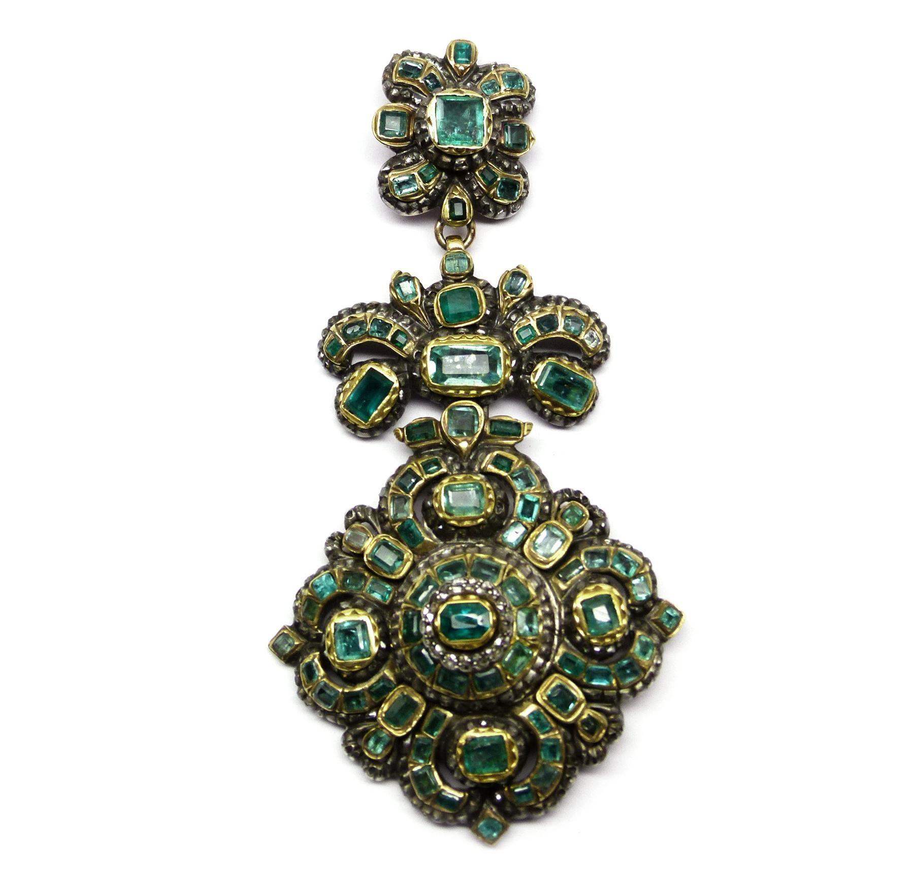 Th century emerald and diamond pendant spanish c joyeria