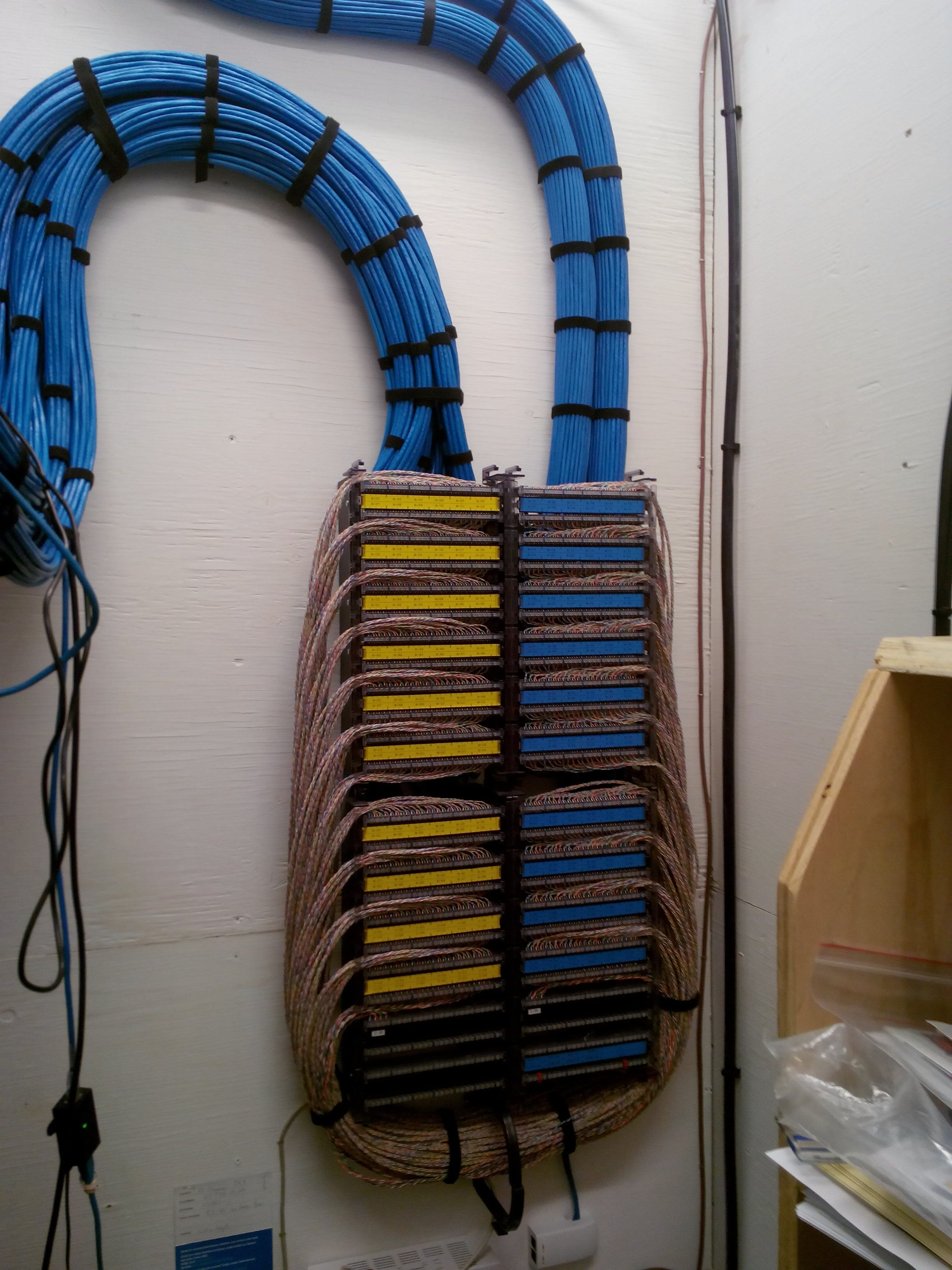 Terminating A Ton Of Network Cabling Incredibly Satisfying To See Structured Cabling Cable Management Cable