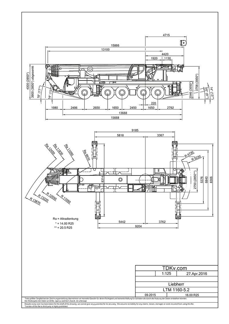 CAD Kran Zeichnungen als DWG und DXF - Liebherr LTM 1160-5.2 | Engin ...