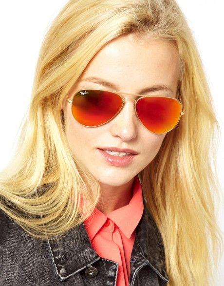 mirrored aviator sunglasses womens  Women\u0027s Metallic Rayban Orange Mirror Aviator Sunglasses ...