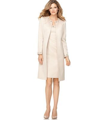 Coat Dresses for Women Macy | by ASL Suit, Sleeveless Beaded