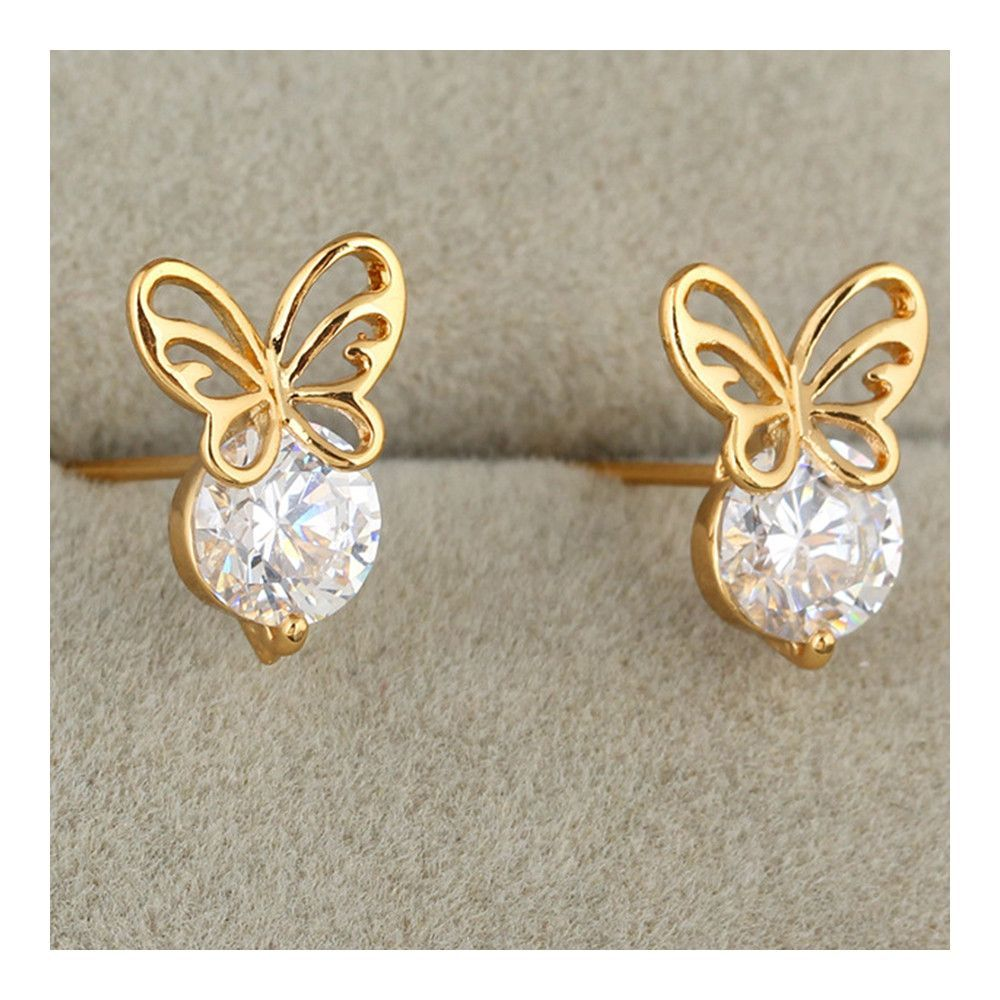 18K Yellow Gold Ladiees Dainty Tops 18K Gold Studs Classy Ladies Studs For Her Perfect Delicate Valentine Studs Gift For Your Dear One.