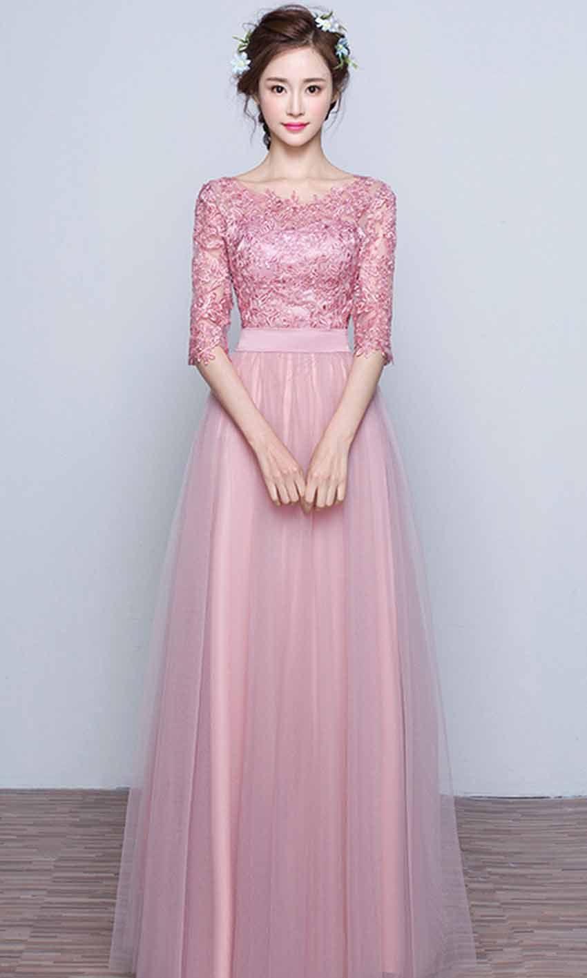 3b09cc5ec134a Pink Applique Bateau Half Sleeves Prom Dresses Long KSP473 | dresses ...
