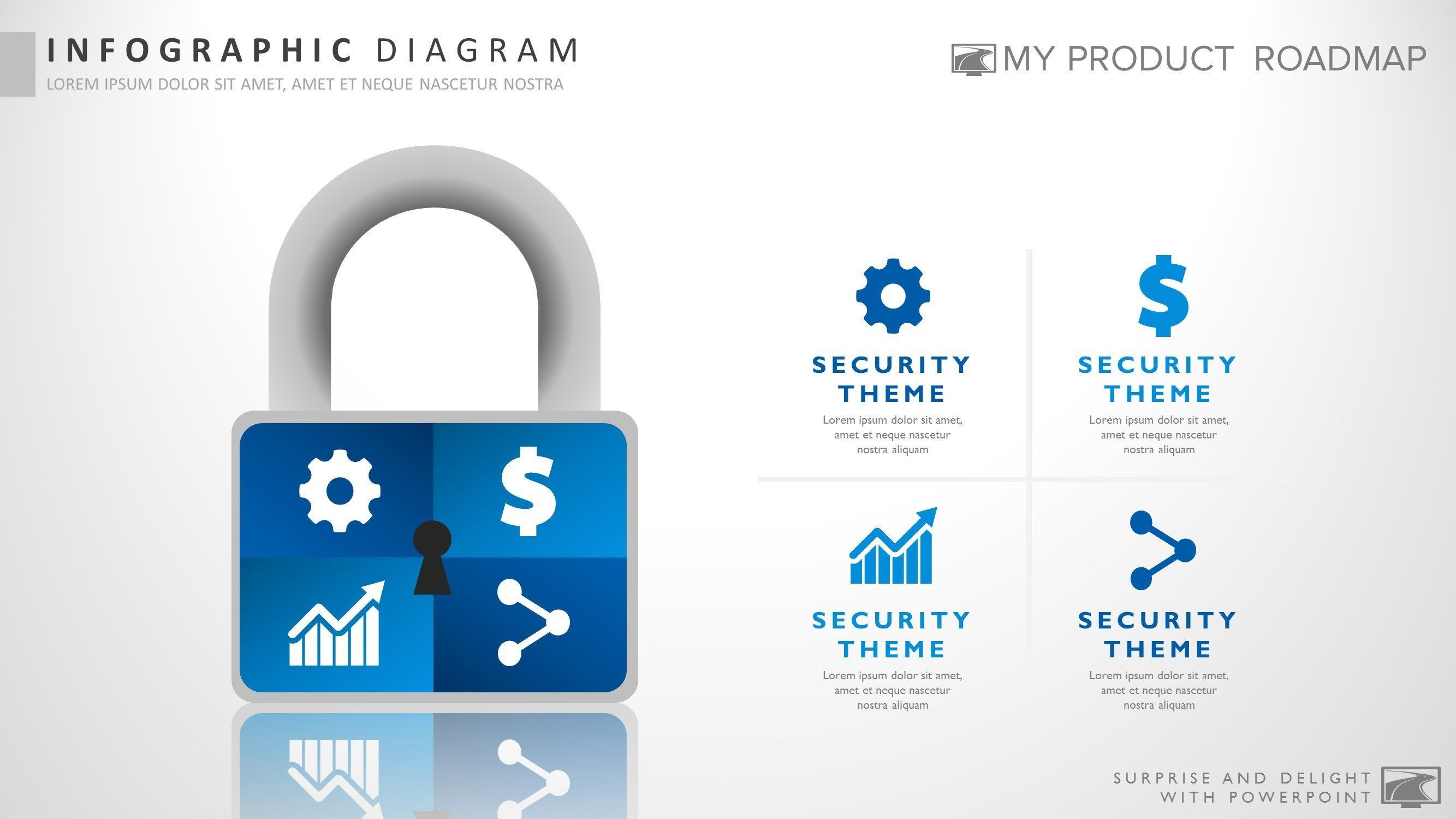 Four Stage Modern Powerpoint Strategy Smartart Presentation Template - Security roadmap template