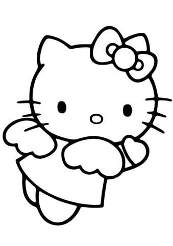 hello kitty angel coloring page  hello kitty coloring