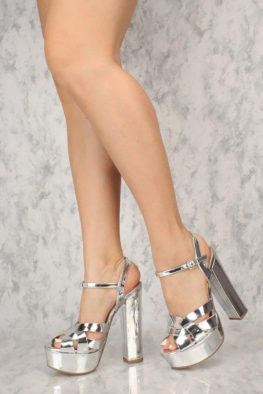 f102b9606345 Sexy Silver Open Toe Crisscross Chunky Heels