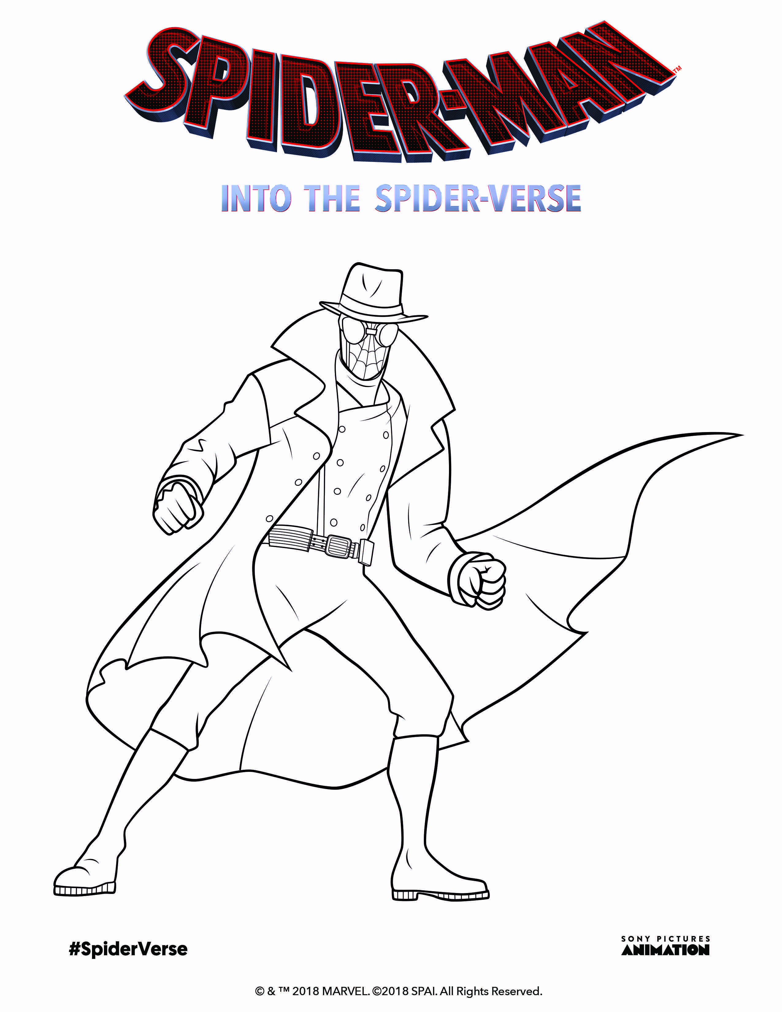 Get Ready For Spiderman Into The Spiderverse By Coloring Spidernoir In Theaters 12 14 18 Coloring Pages Space Coloring Pages Marvel Coloring