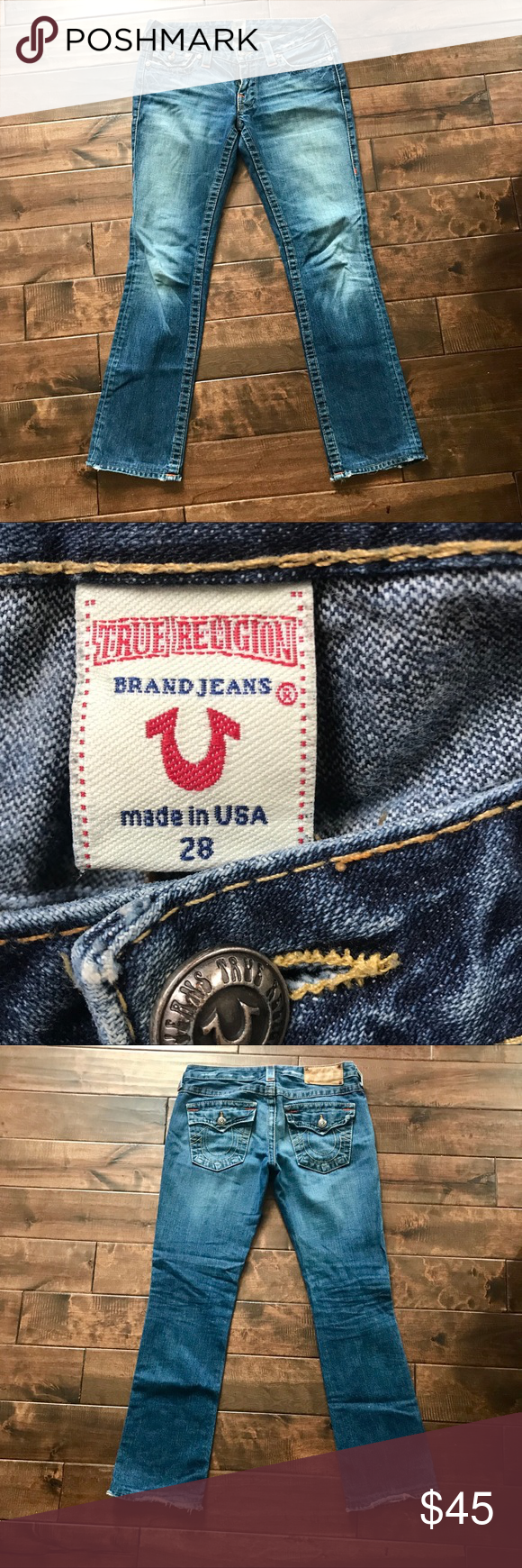 3f0f6b578 True Religion straight jeans - size 28 True Religion jeans with leather  label on back of waist. Amber stitching. Nice flaps on back pockets with  distressed ...