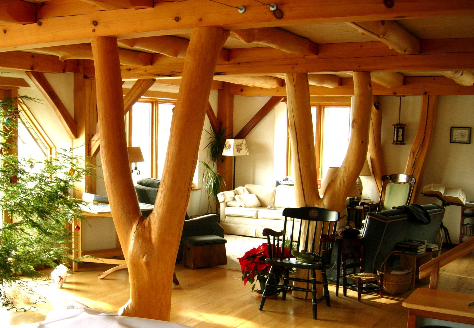 Timber Frame House in the Poconos with Straw Clay Walls   interior ...