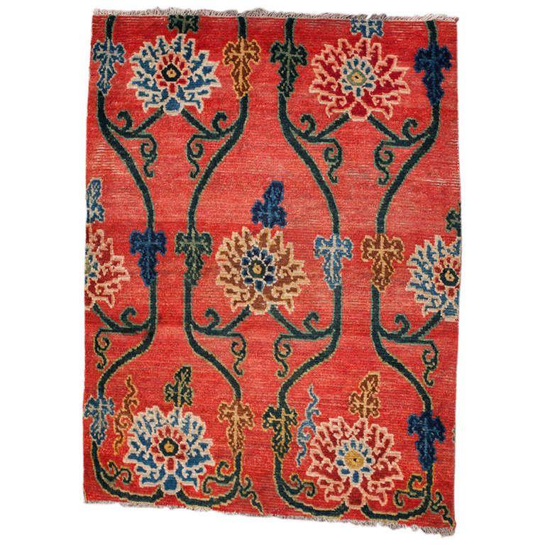 Antique Tibetan Rug: Antique Tibetan Red Sitting Rug With Lotus Design